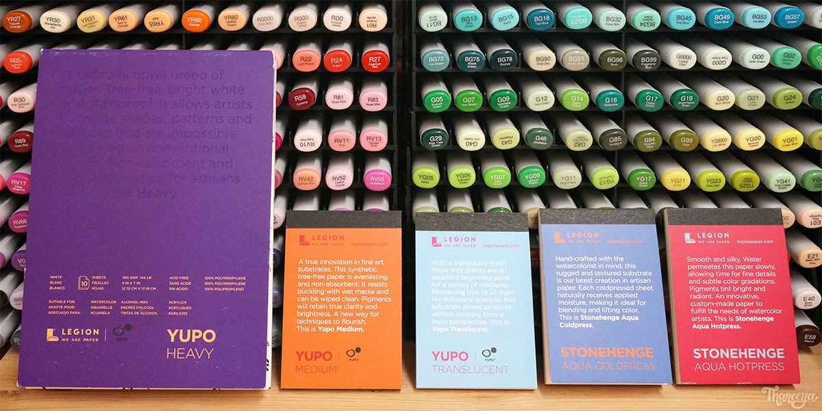 Free samples of Yupo and Stonehenge Aqua Paper, from Legion Paper