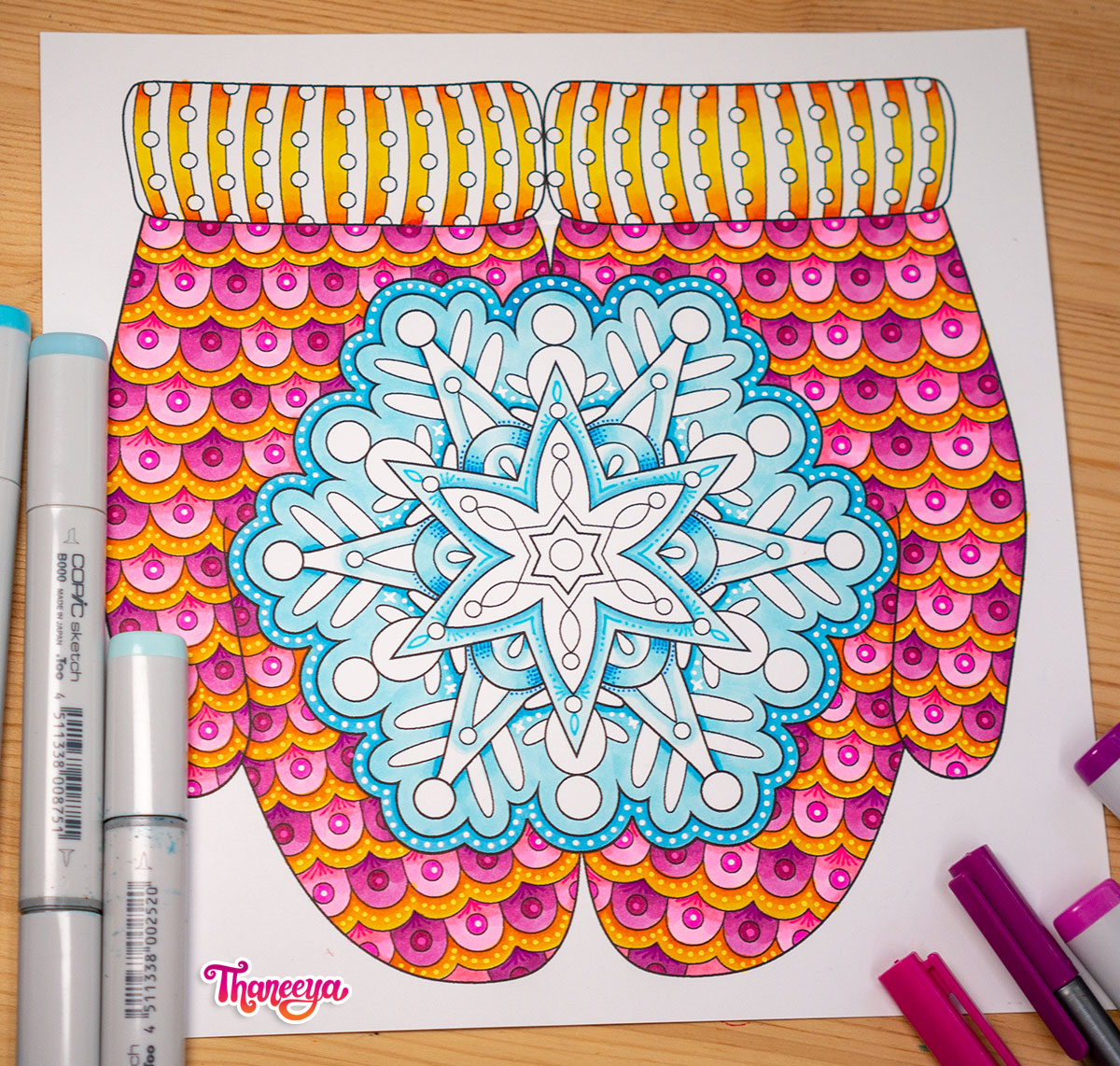 Snowflake in Mittens coloring page from Thaneeya McArdle's Holiday Cheer Coloring Book