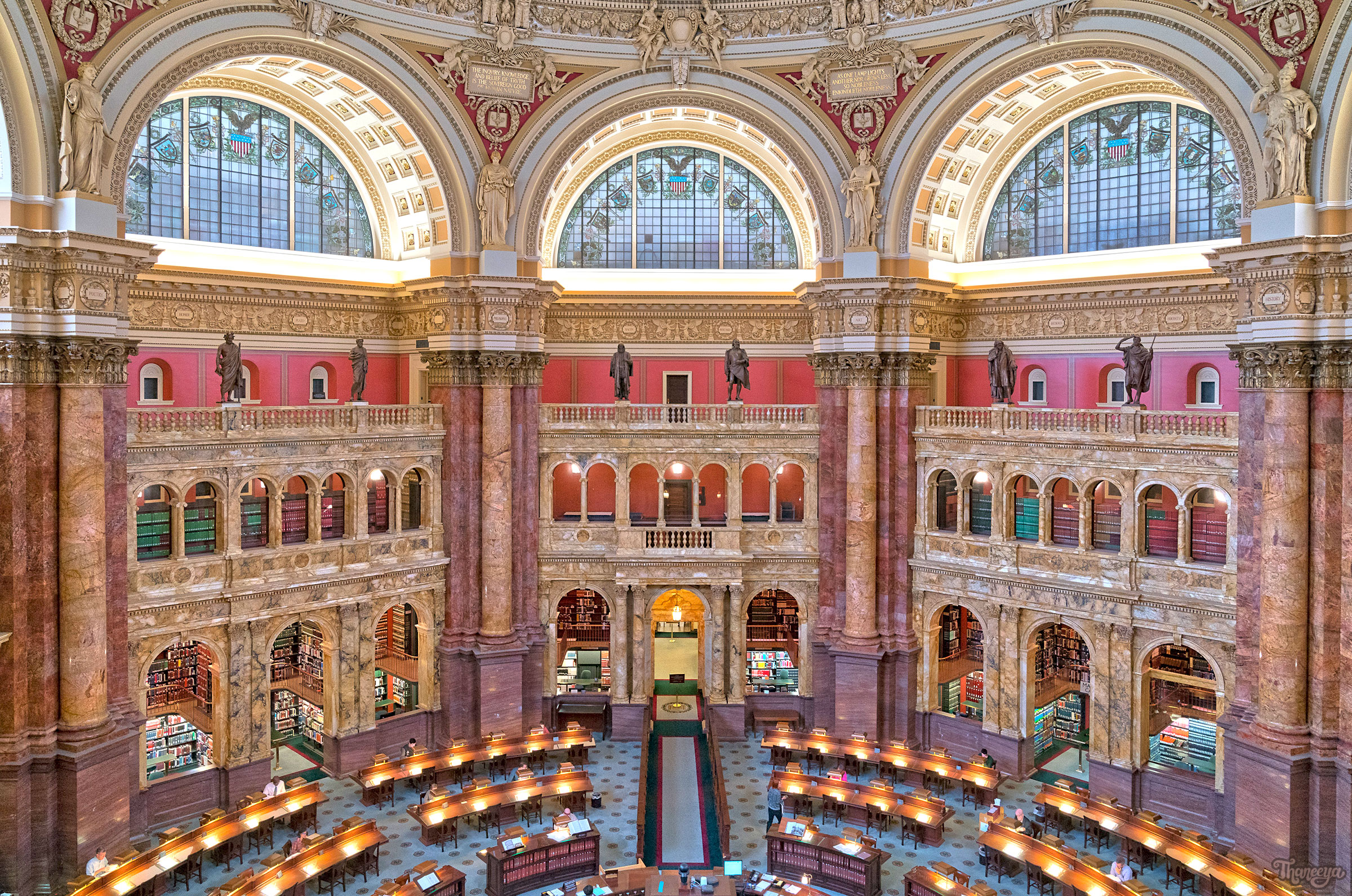 Main Reading Room at the Library of Congress, Jefferson Building.
