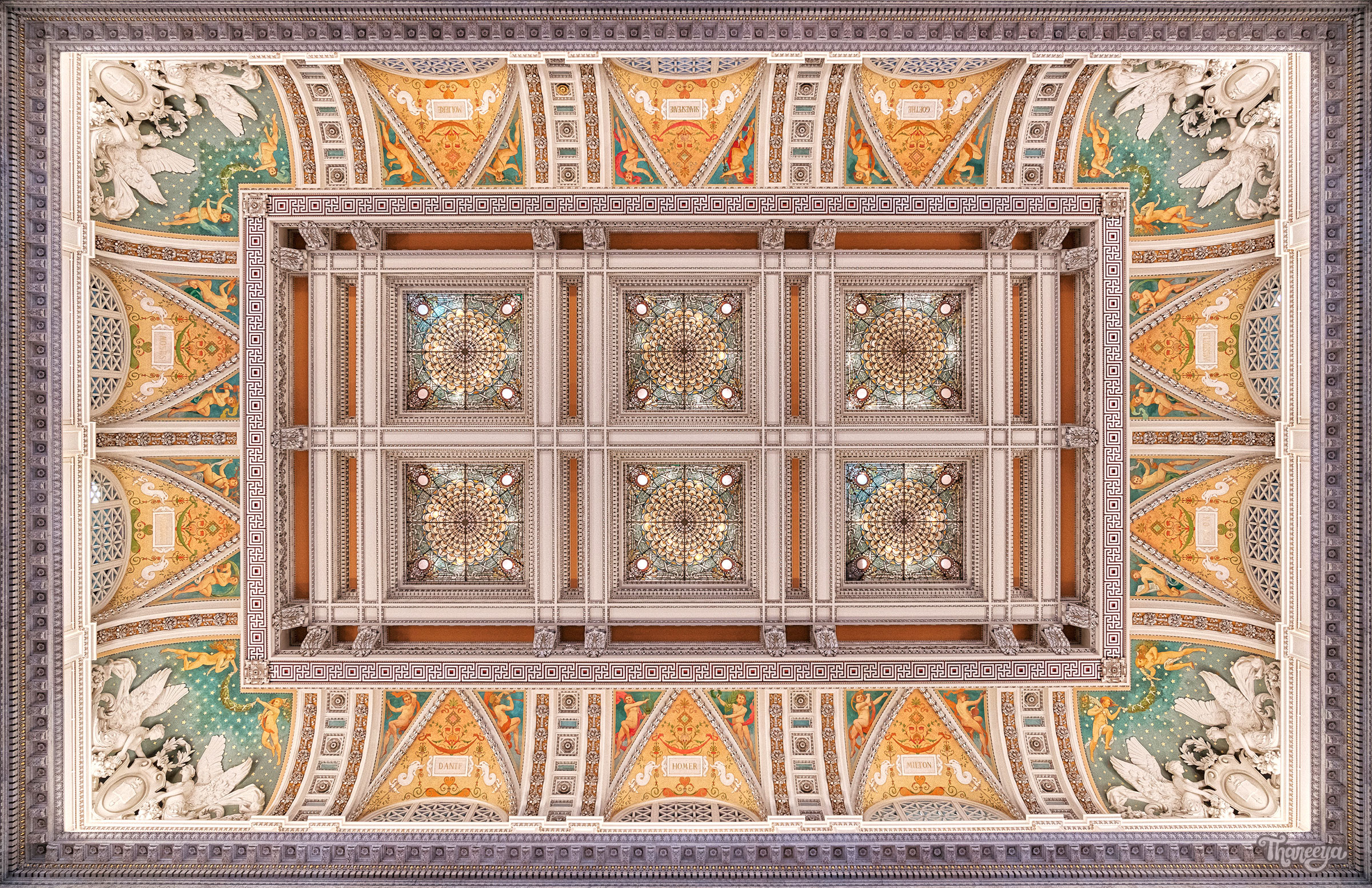 Ceiling of the Jefferson Building, Library of Congress, Washington DC