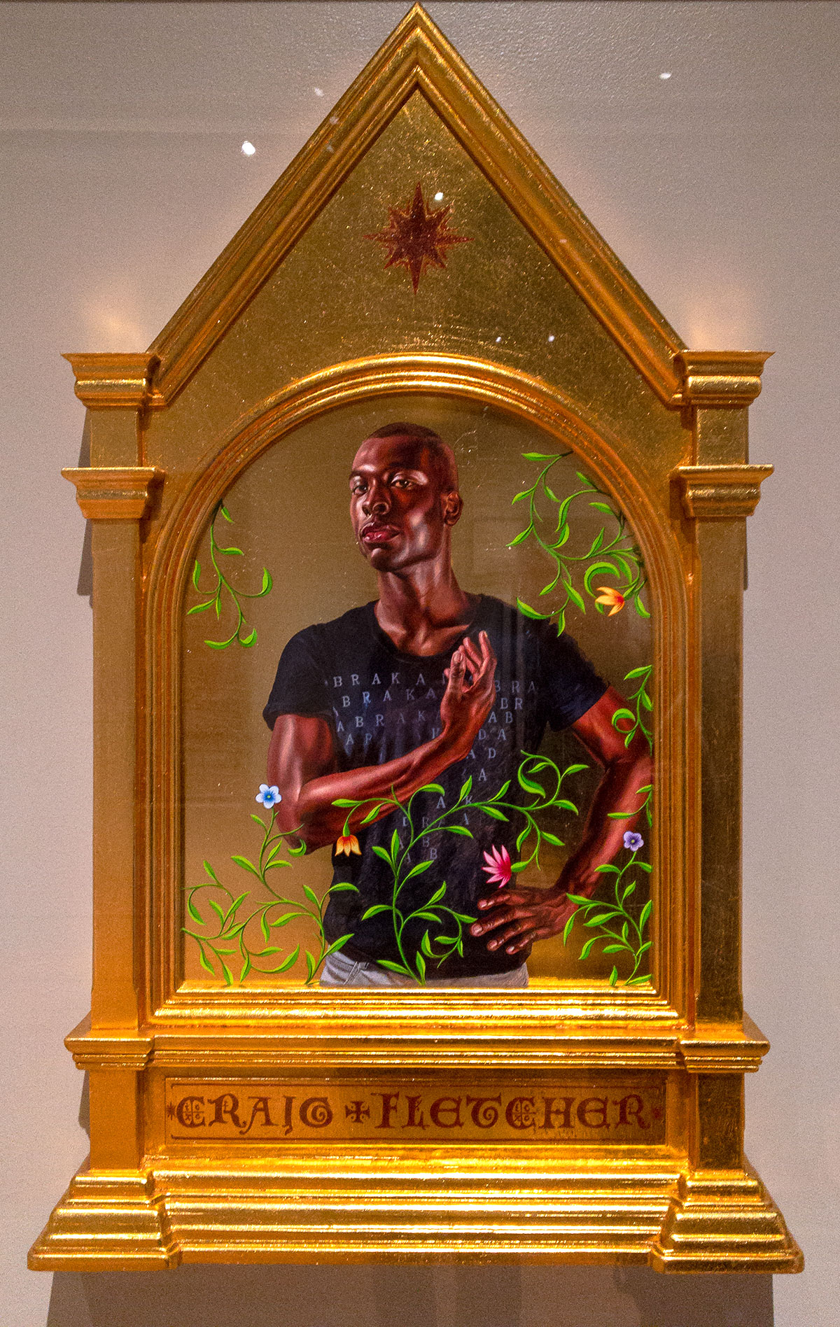 St. John the Baptist  by Kehinde Wiley, Gold Leaf and Oil Paint on Wood Panel, Metal.
