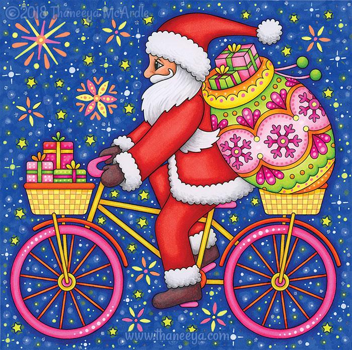 Santa Riding Bicycle Coloring Page by Thaneeya
