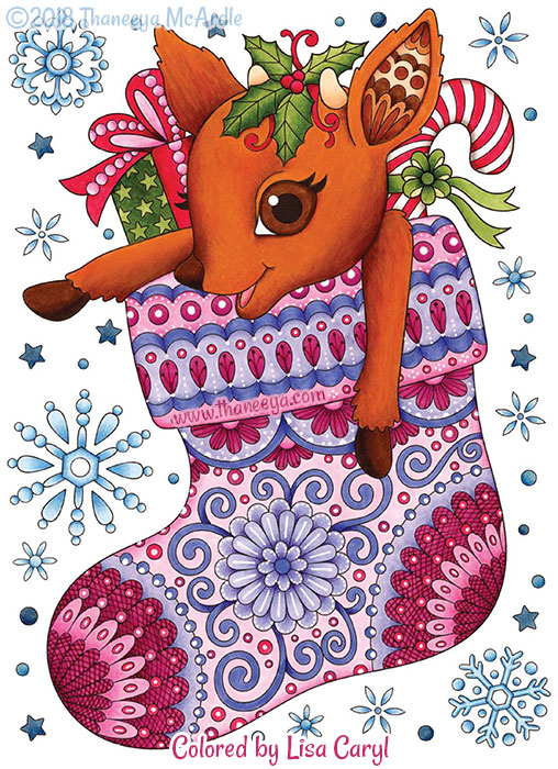 Reindeer in Stocking Coloring Page by Thaneeya McArdle