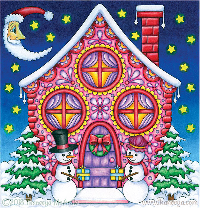 Christmas Cottage Coloring Page by Thaneeya McArdle