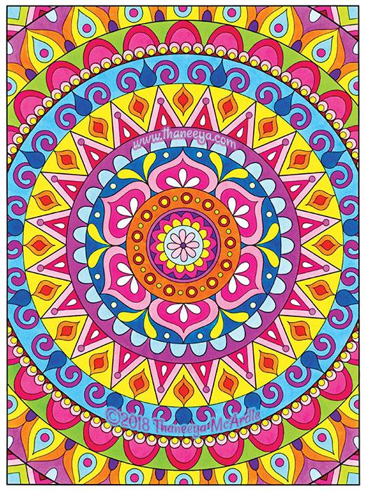 Colorful Mandala Coloring Page by Thaneeya