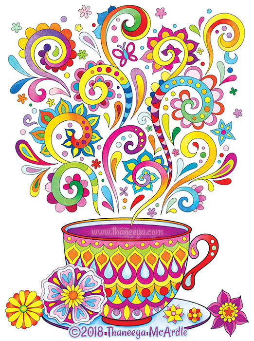 Colorful Tea Cup Coloring Page by Thaneeya