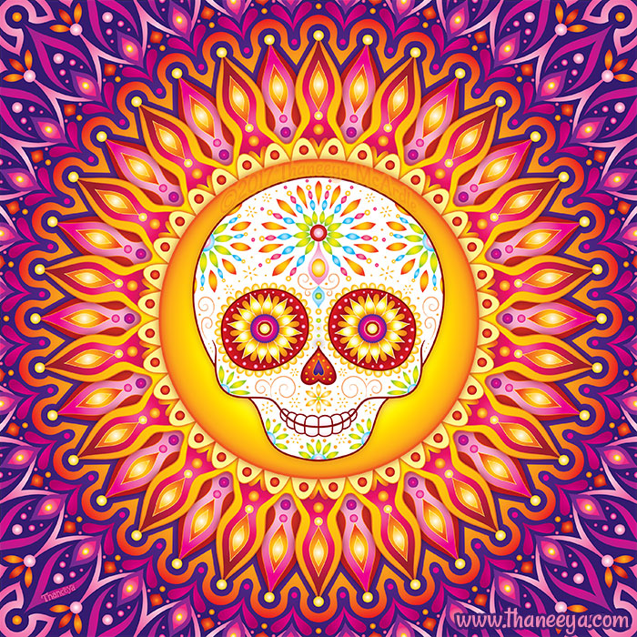 Rays of Light Sugar Skull Art by Thaneeya McArdle