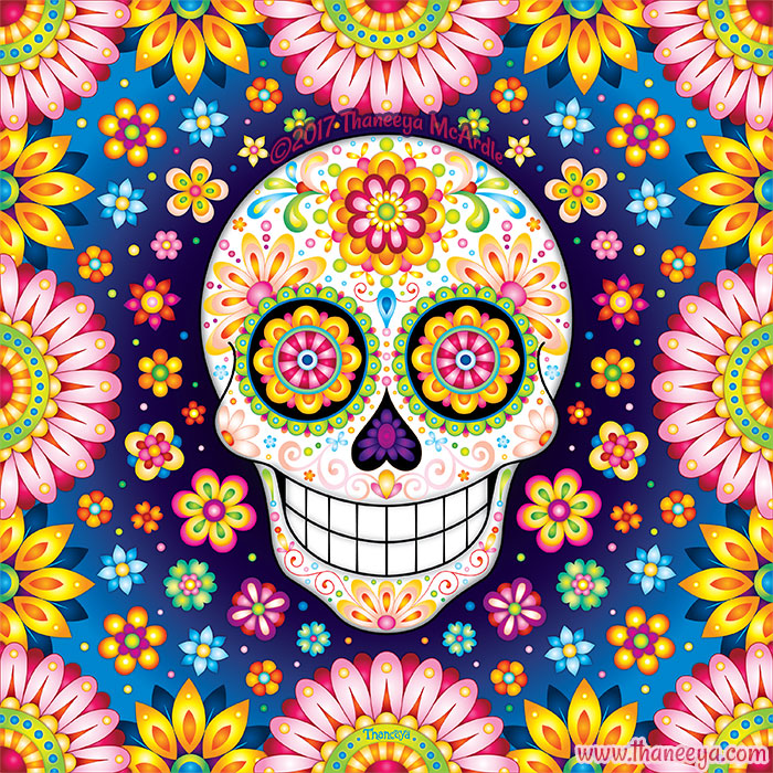 Optimismo Sugar Skull Art by Thaneeya McArdle