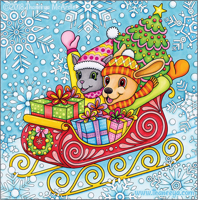 Sleigh Ride Coloring Page by Thaneeya McArdle