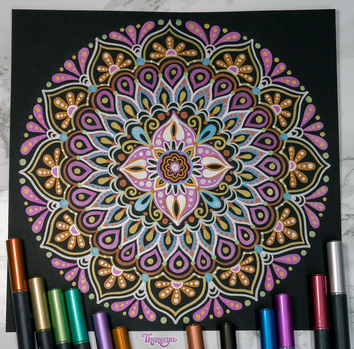 Spectrum Noir Metallic Markers - Mandala on Black Paper by Thaneeya McArdle