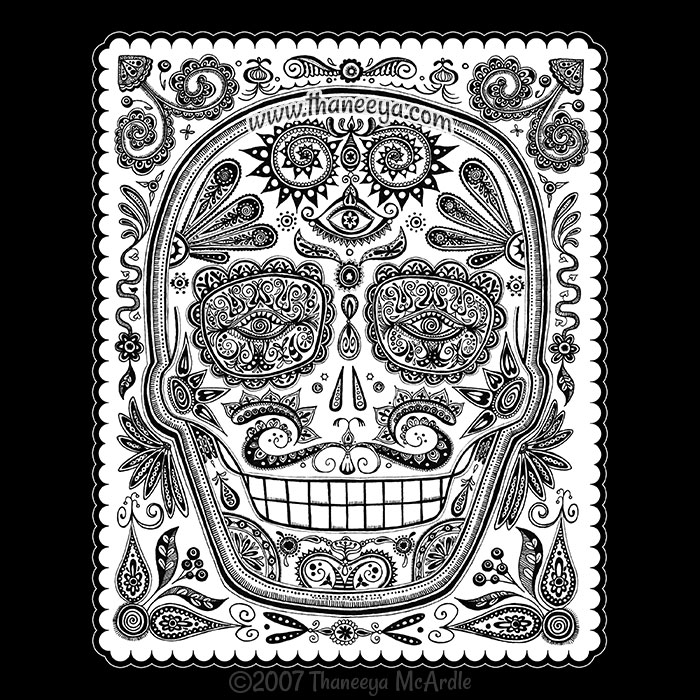 Detailed Sugar Skull Drawing by Thaneeya