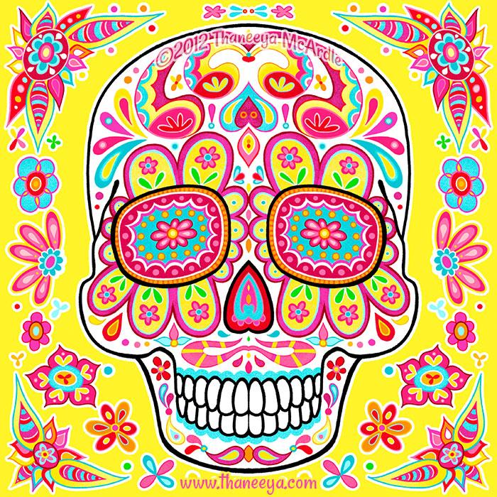 Paz Groovy Day of the Dead Skull by Thaneeya