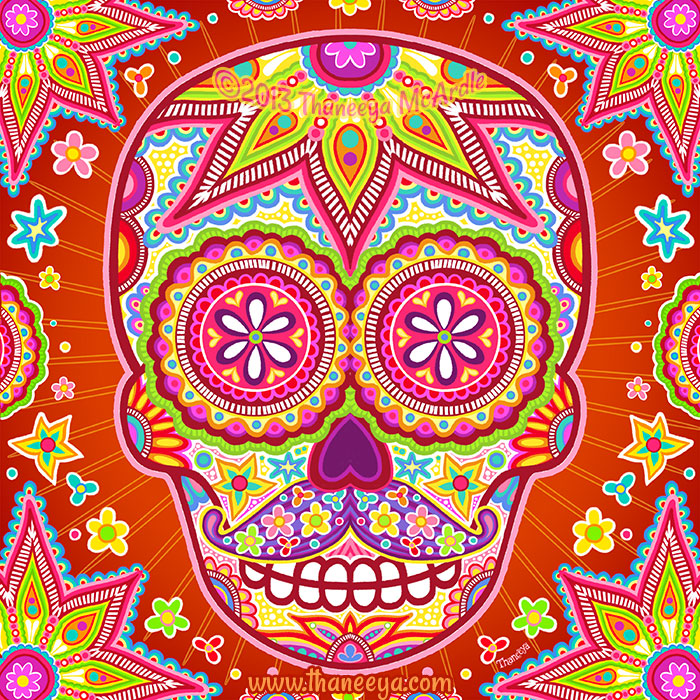 Groovy Sugar Skull with Mustache by Thaneeya