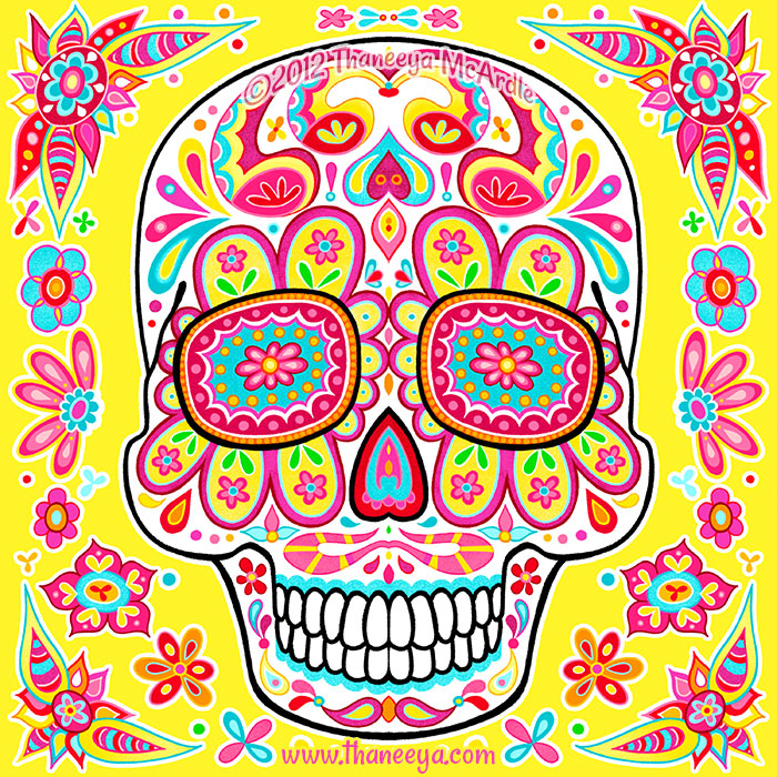 Paz Groovy Day of the Dead Skull by Thaneeya