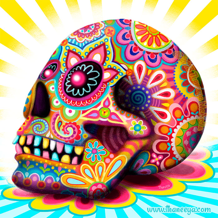 Colorful 3D Sugar Skull by Thaneeya