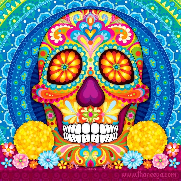 Incandescent Colorful Sugar Skull by Thaneeya