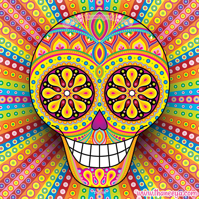 Colorful Sugar Skull Ahora by Thaneeya McArdle