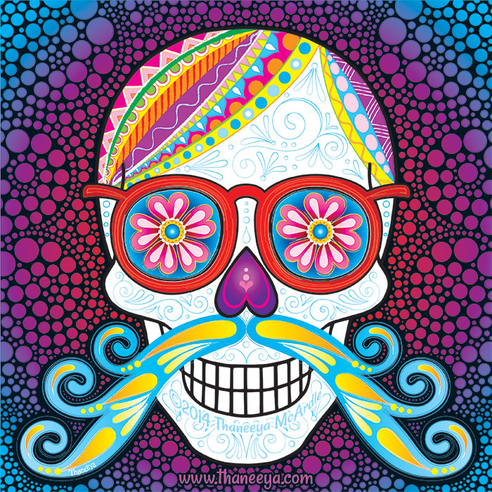 Sugar Skull with Mustache by Thaneeya McArdle