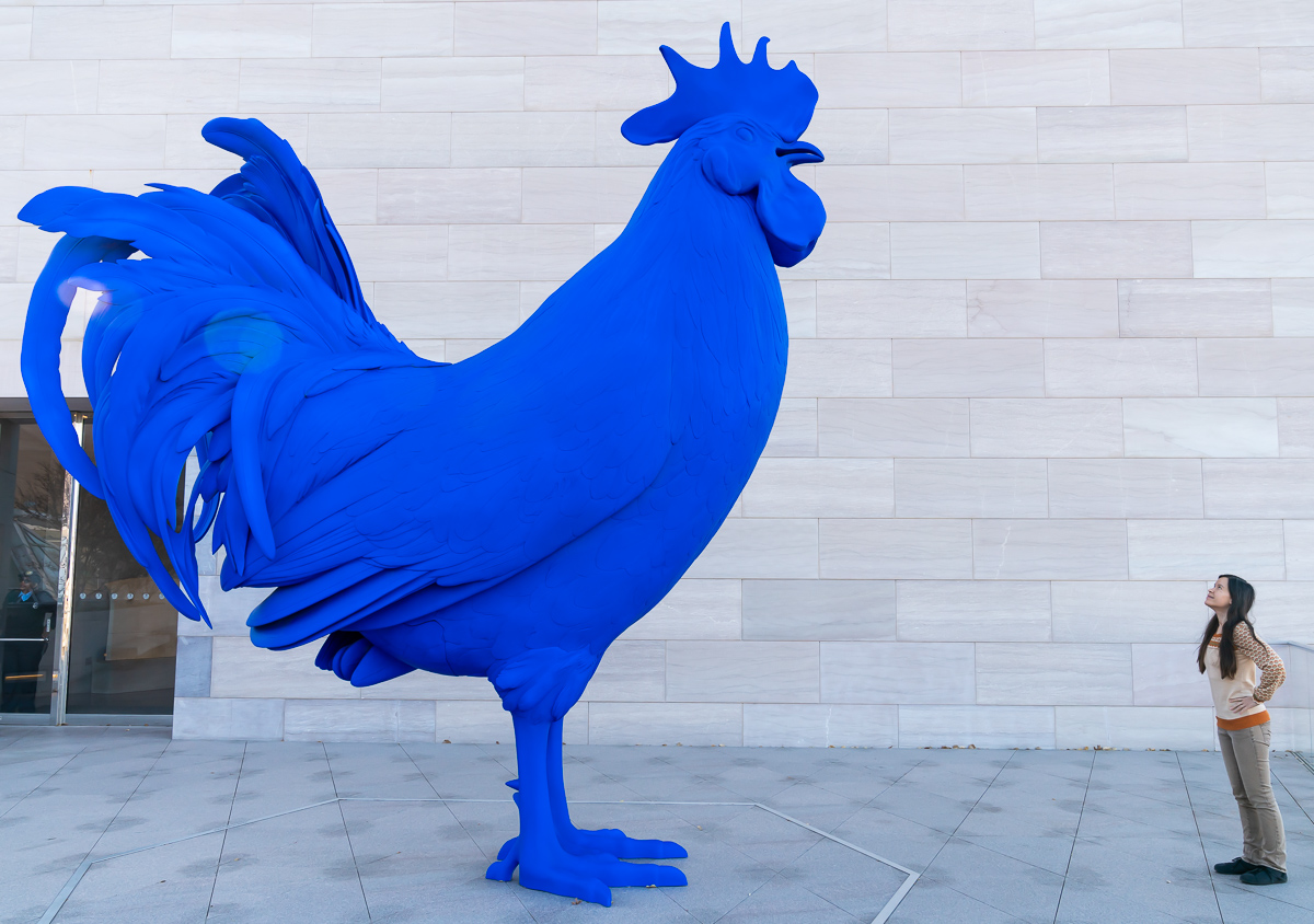 Hahn/Cock , a 15-ft sculpture by Katharina Fritsch at the National Gallery of Art in Washington, DC