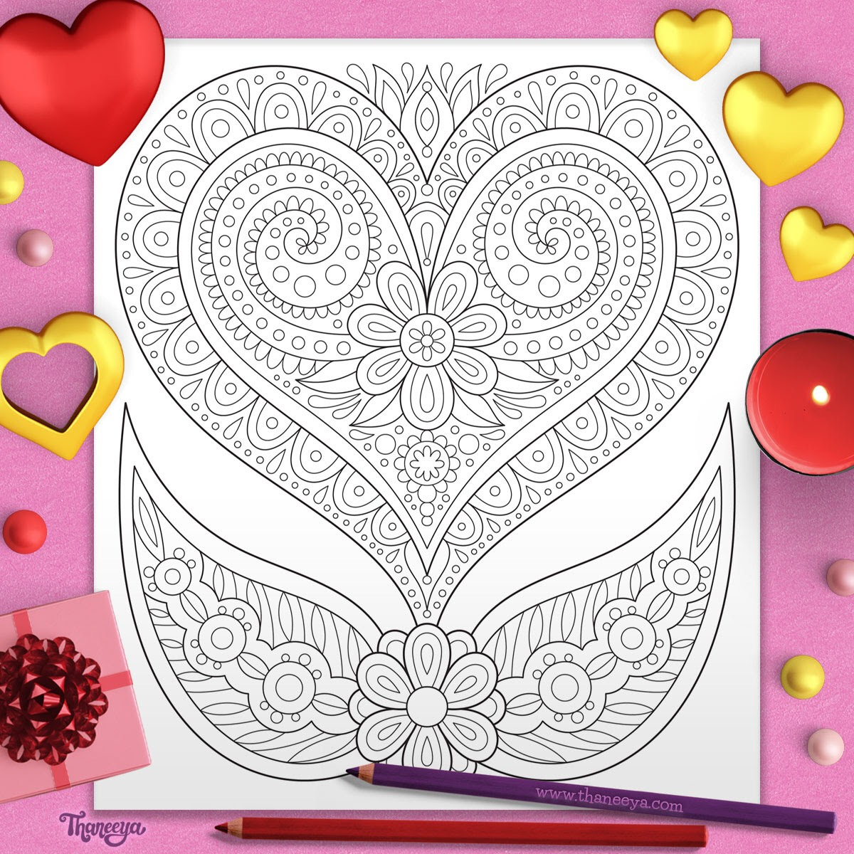 Free Heart Coloring Page by Thaneeya