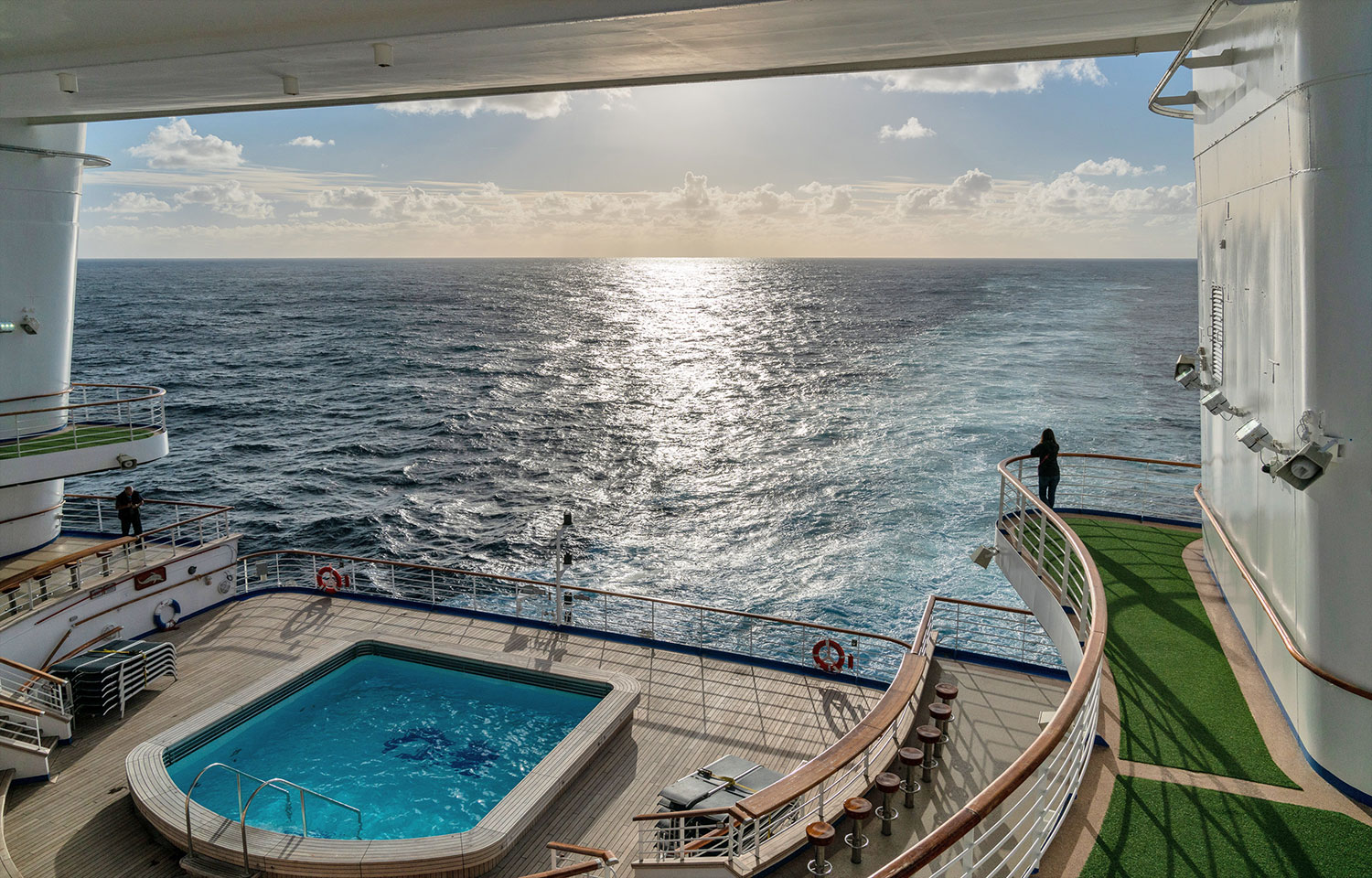 Thaneeya McArdle on the Golden Princess cruise from Melbourne to New Zealand. Crossing the Tasman Sea.