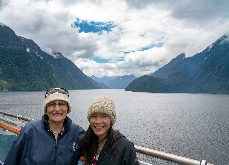 Thaneeya McArdle at Doubtful Sound, Fiordland National Park in New Zealand