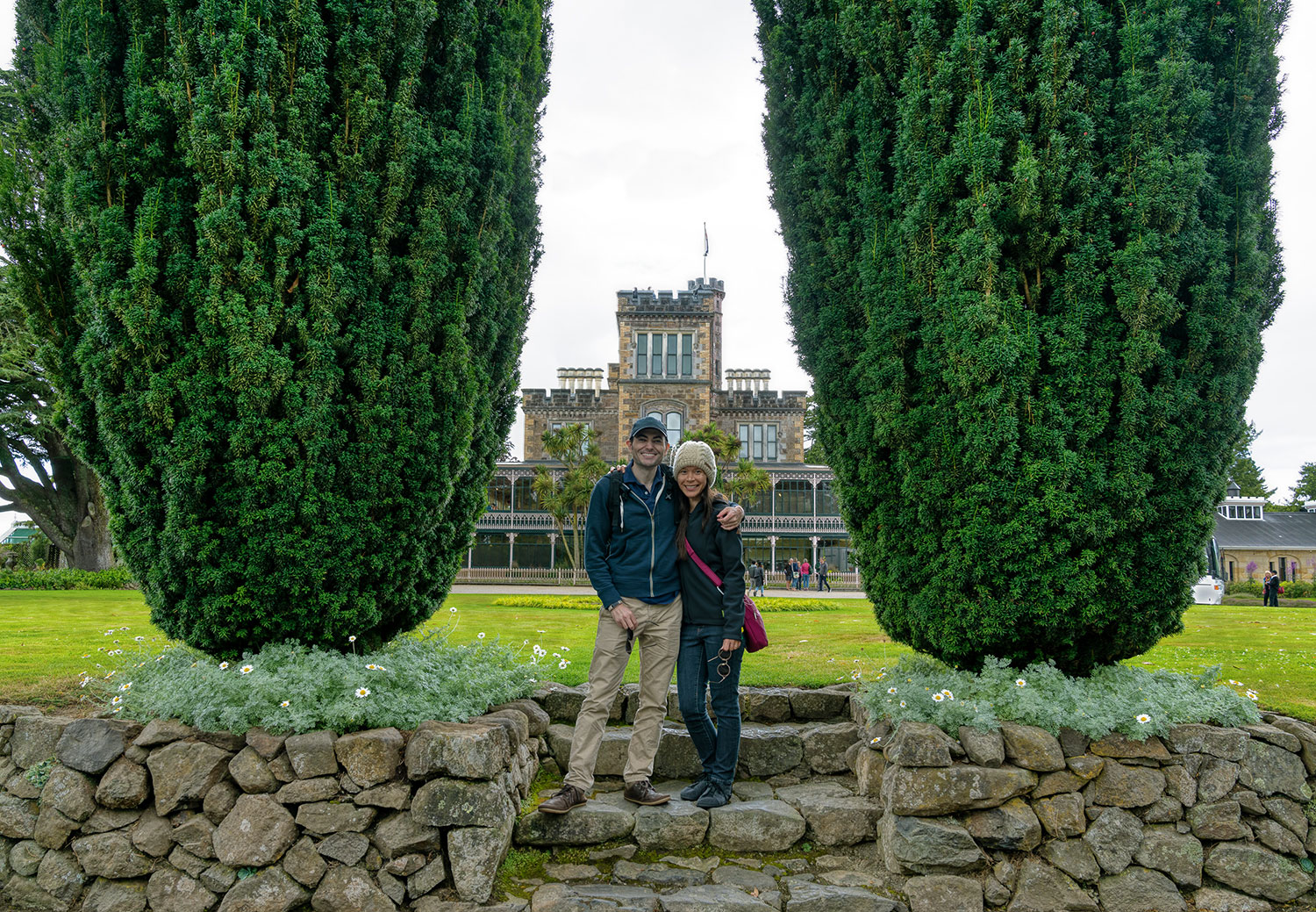 Thaneeya McArdle and her husband Marcus at Larnarch Castle in New Zealand