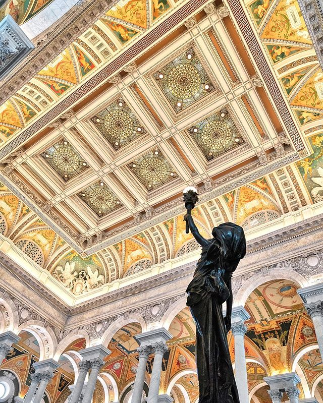 One of my favorite architectural interiors ever - the Jefferson Building at the Library of Congress. The Great Hall is an astonishing work of art, beautifully decorated on every surface. It's a fun building to photograph with all the colors and details, the soaring ceiling and sculptures, and the luminescent gold. Definitely worth a visit if you're in DC! 🌟😍🌟⠀⠀