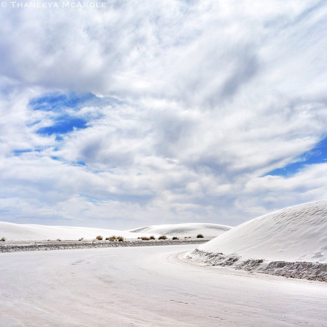 Otherworldly landscape at White Sands National Monument in New Mexico... White gypsum sand everywhere (and bright white clouds to match)!