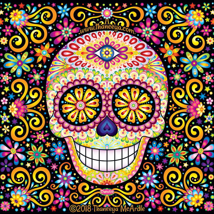 Cosmic Fete Sugar Skull by Thaneeya McArdle