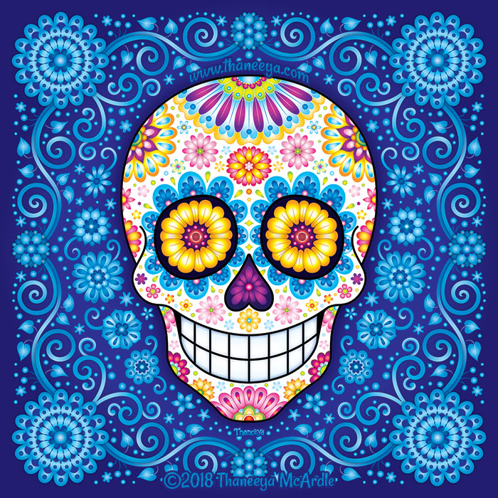 Rhapsody in Blue Sugar Skull by Thaneeya McArdle