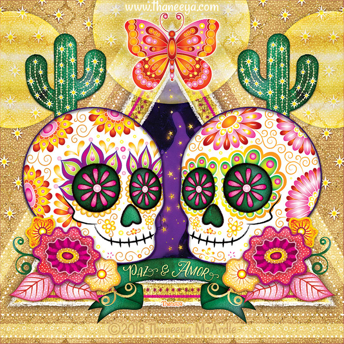 Paz y Amor Sugar Skull by Thaneeya McArdle