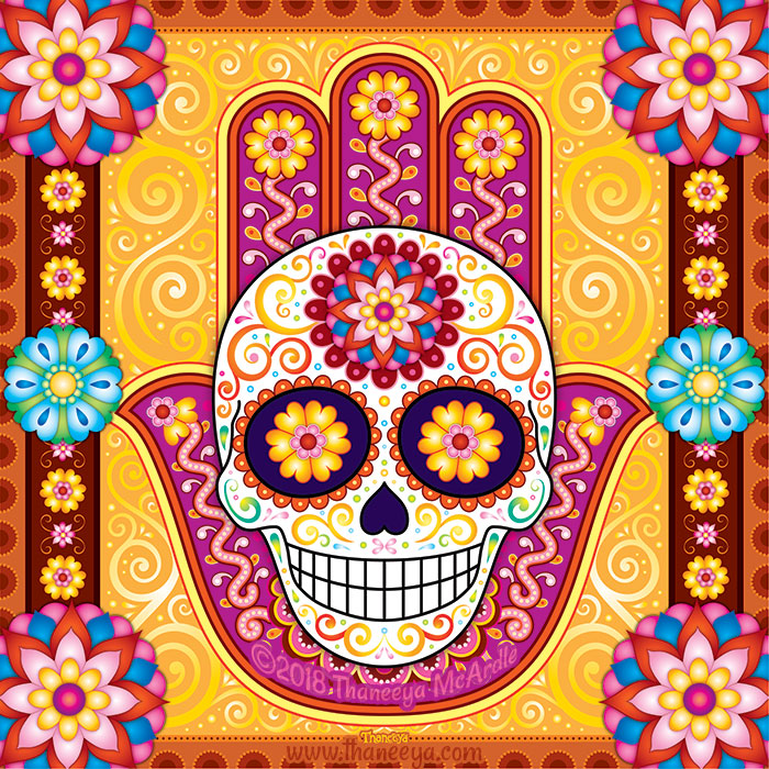 Sugar Skull Hamsa by Thaneeya McArdle