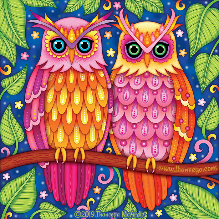 Colorful Crested Owls by Thaneeya McArdle