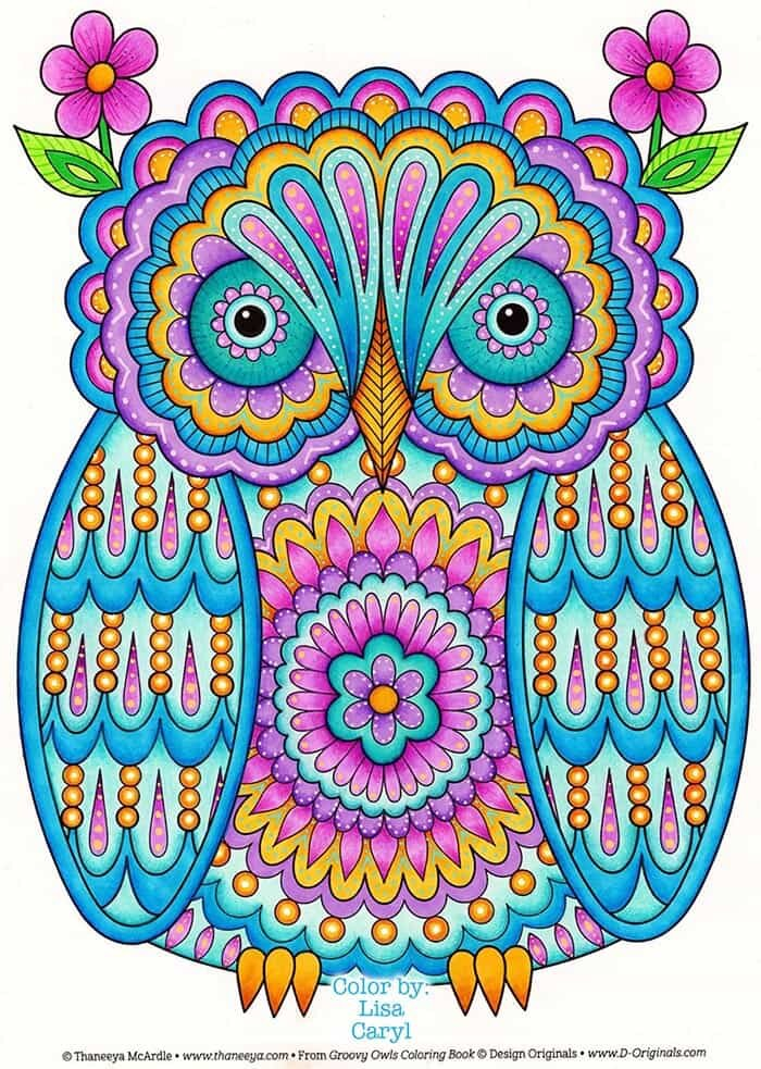 Beautiful Owl Coloring Page by Thaneeya