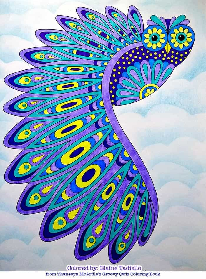 Colorful Flying Owl Coloring Page by Thaneeya McArdle