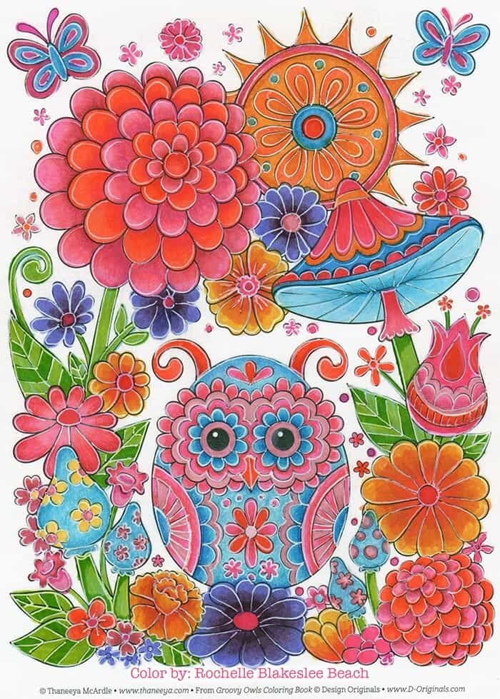 Cute Colorful Owl Coloring Page by Thaneeya