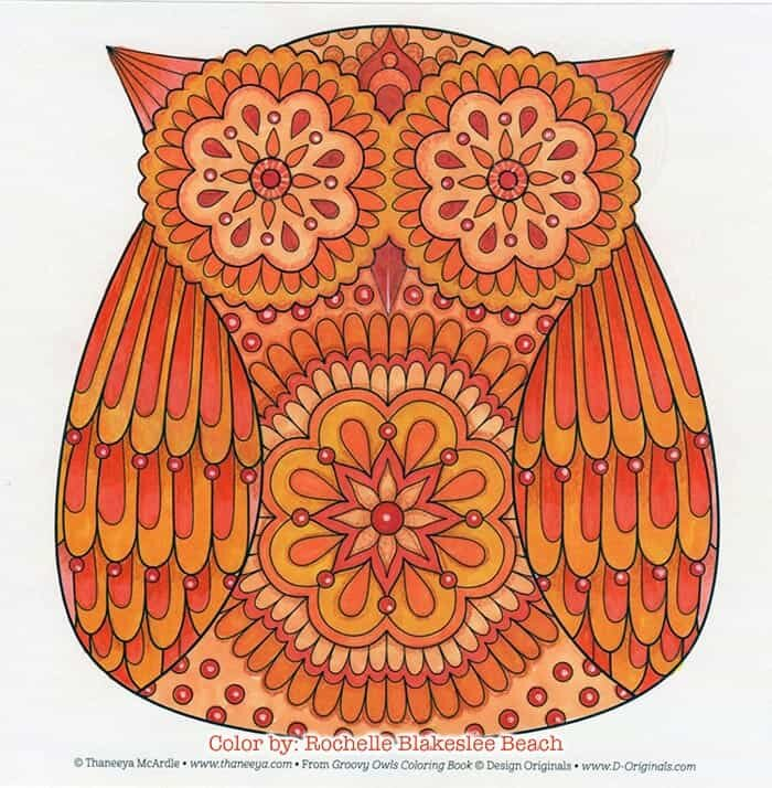 Cute Orange Owl Coloring Page by Thaneeya