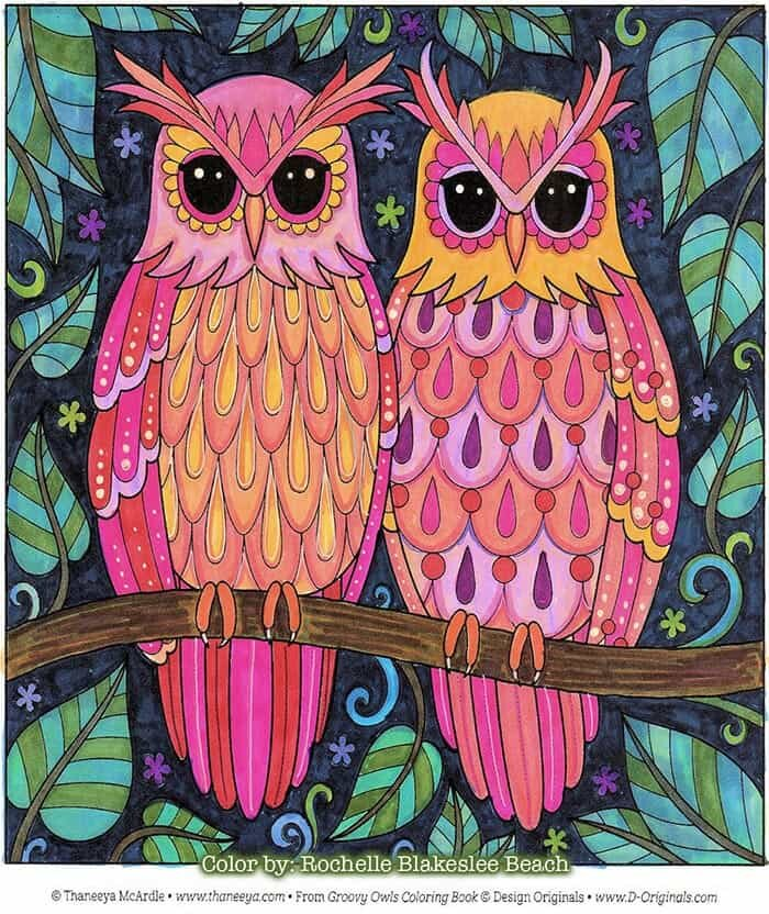 Cute Owl Couple Coloring Page by Thaneeya