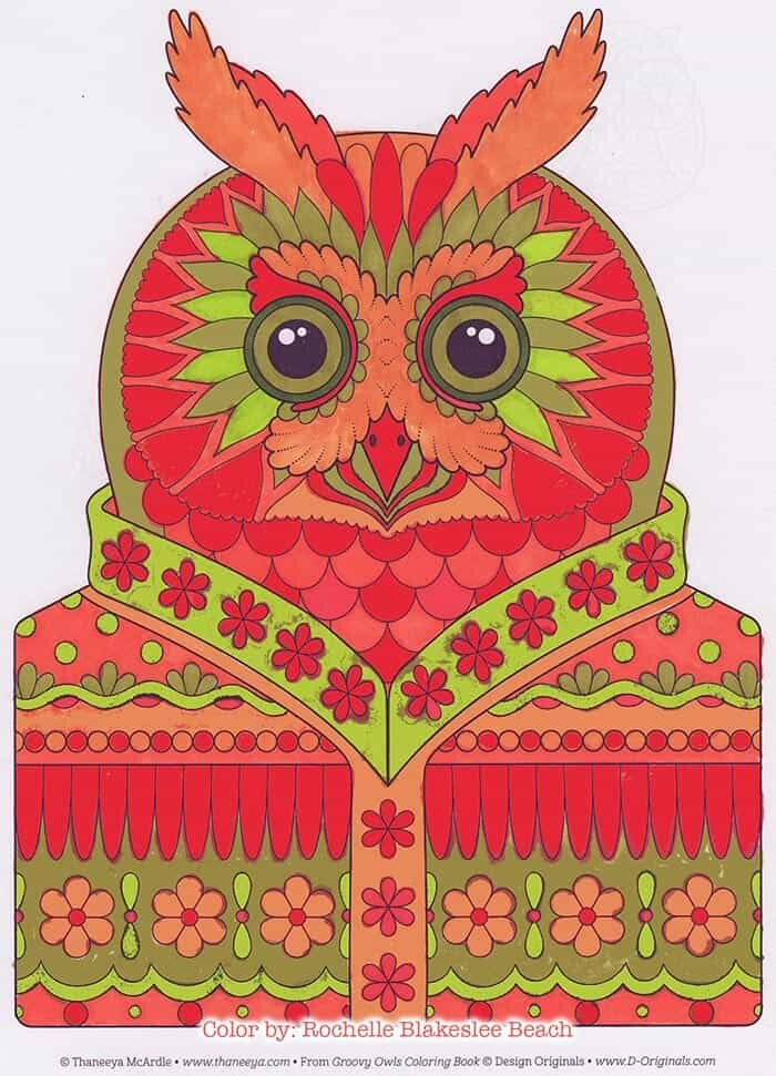 Dapper Owl Coloring Page by Thaneeya