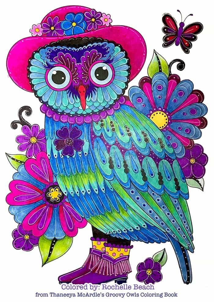 Fancy Owl Coloring Page by Thaneeya