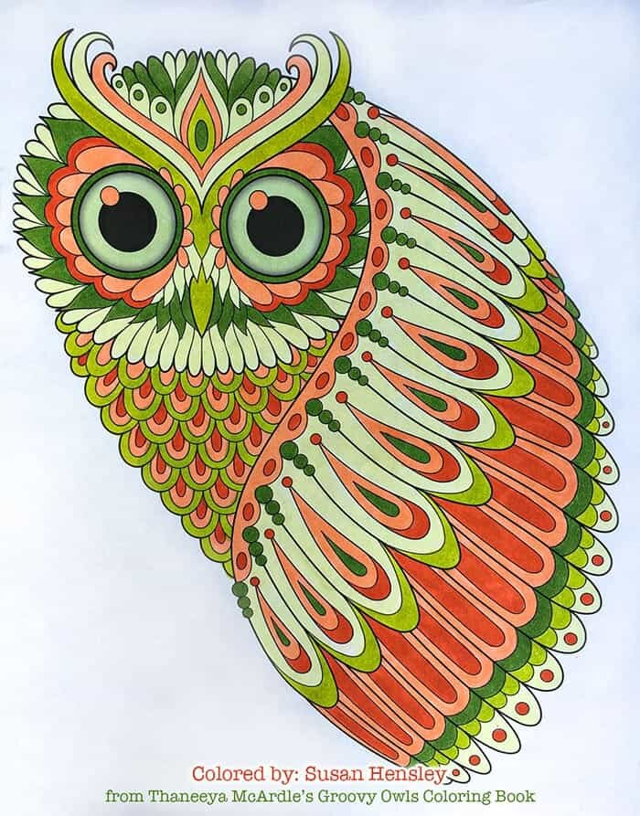 Feathered Owl Coloring Page by Thaneeya
