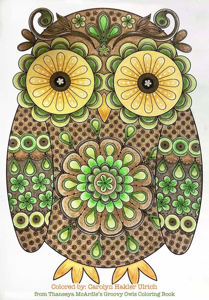 Groovy Owl Art Coloring Page by Thaneeya McArdle