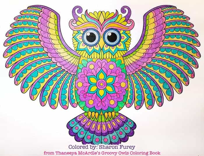 Groovy Owl Coloring Art by Thaneeya McArdle