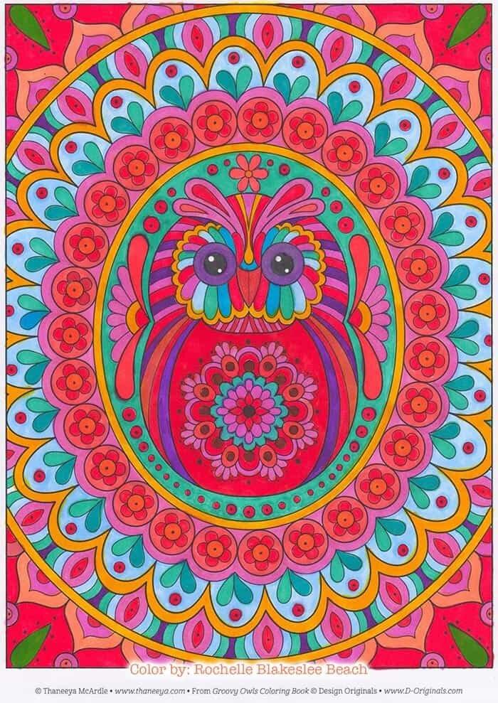 Groovy Owl Mandala Coloring Page by Thaneeya