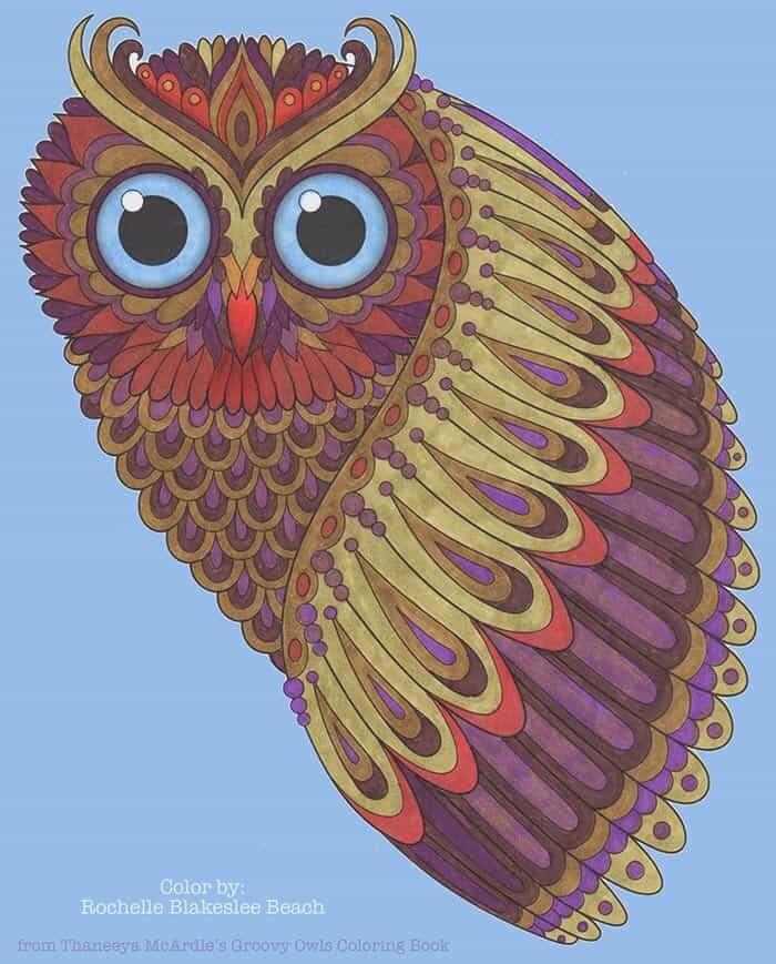 Intense Owl Gaze Coloring Art by Thaneeya