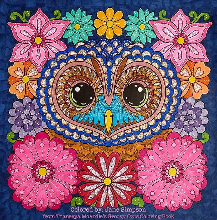 Owl with Flowers Coloring Page by Thaneeya