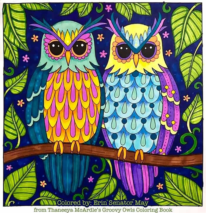 Perched Owls Coloring Page by Thaneeya McArdle