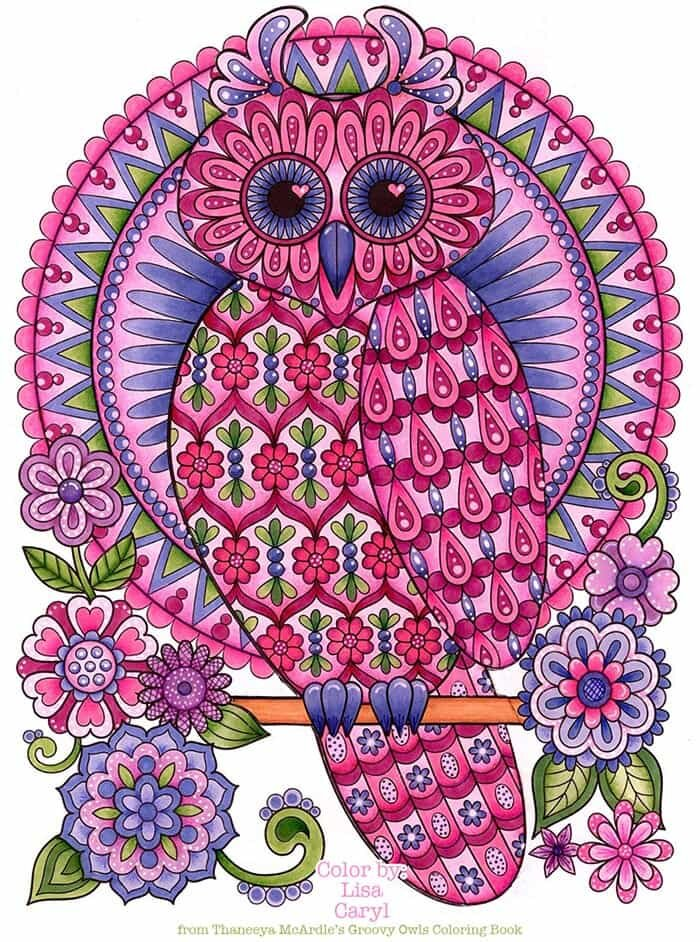 Pretty Pink Owl Coloring Page by Thaneeya