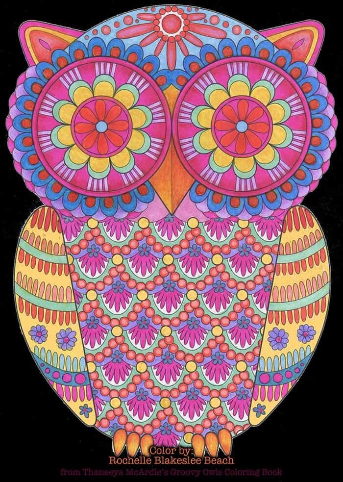 Psychedelic Owl Coloring Page by Thaneeya